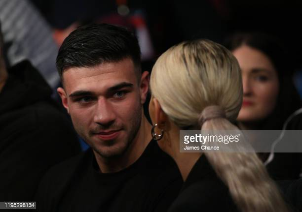 Tommy Fury and girlfriend Molly Mae watch on from ringside during the LightHeavyweight fight between Tommy Fury and Przemslaw Binienda at Copper Box...
