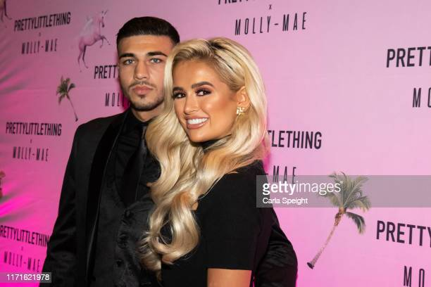 Tommy Fury and MollyMae attends the Pretty Little Thing X MollyMae party at Rosso on September 01 2019 in Manchester England