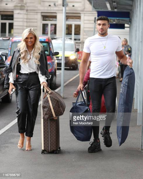 Tommy Fury and MollyMae Hague seen arriving at Euston Station on August 12 2019 in London England