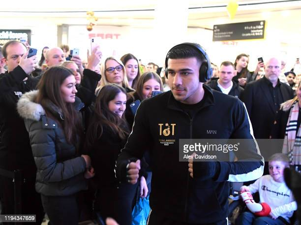 Tommy Fury arrives during a Daniel Dubois v Kyotaro Fujimoto Public Workout at the Intu Lakeside on December 16 2019 in Grays England