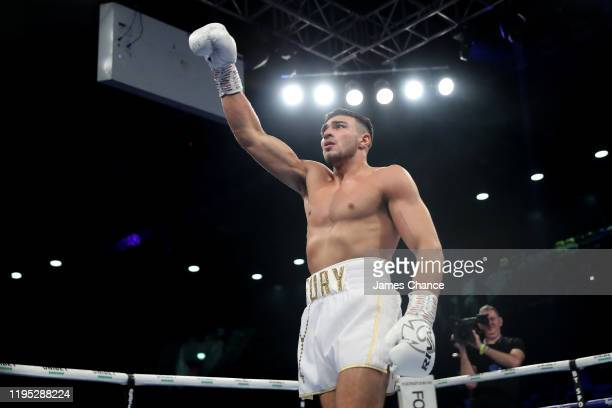 Tommy Fury celebrates victory during the LightHeavyweight fight between Tommy Fury and Przemslaw Binienda at Copper Box Arena on December 21 2019 in...