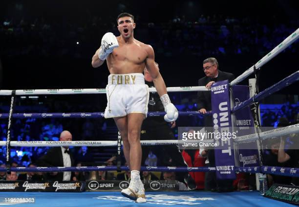 Tommy Fury during the LightHeavyweight fight between Tommy Fury and Przemslaw Binienda at Copper Box Arena on December 21 2019 in London England