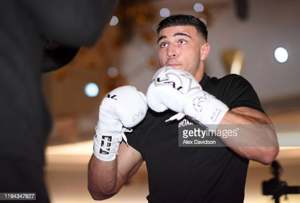 Tommy Fury in action during a Daniel Dubois v Kyotaro Fujimoto Public Workout at the Intu Lakeside on December 16 2019 in Grays England