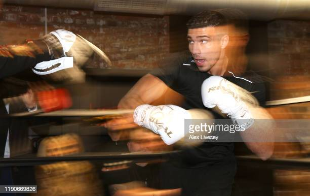 Tommy Fury in action during a media workout at the Henrietta Gym on November 28 2019 in Birmingham England