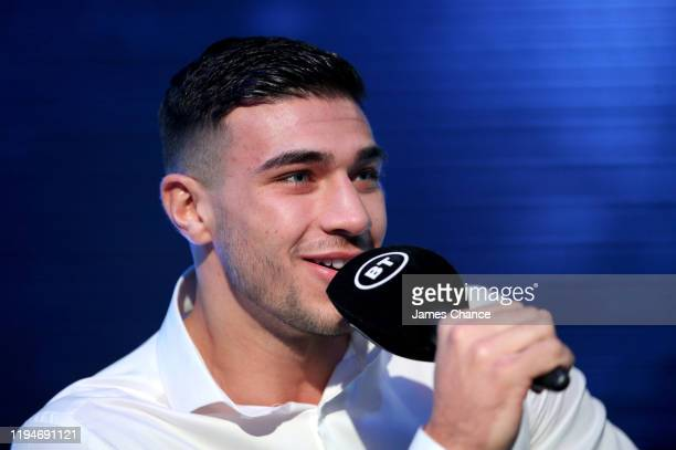 Tommy Fury speaks to the media during the The Fight Before Christmas boxing press conference at the BT Studios on December 18 2019 in Stratford...