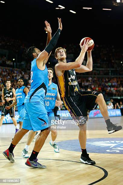 Tommy Garlepp of the Kings takes a shot during the round 16 NBL match between the New Zealand Breakers and the Sydney Kings at Vector Arena on...