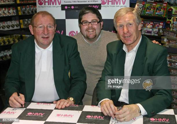 Tommy Gemmell and Billy McNeill members of Celtic football clubs legendary Lisbon Lions team meet season ticket holder Paddy Doherty who drove all...