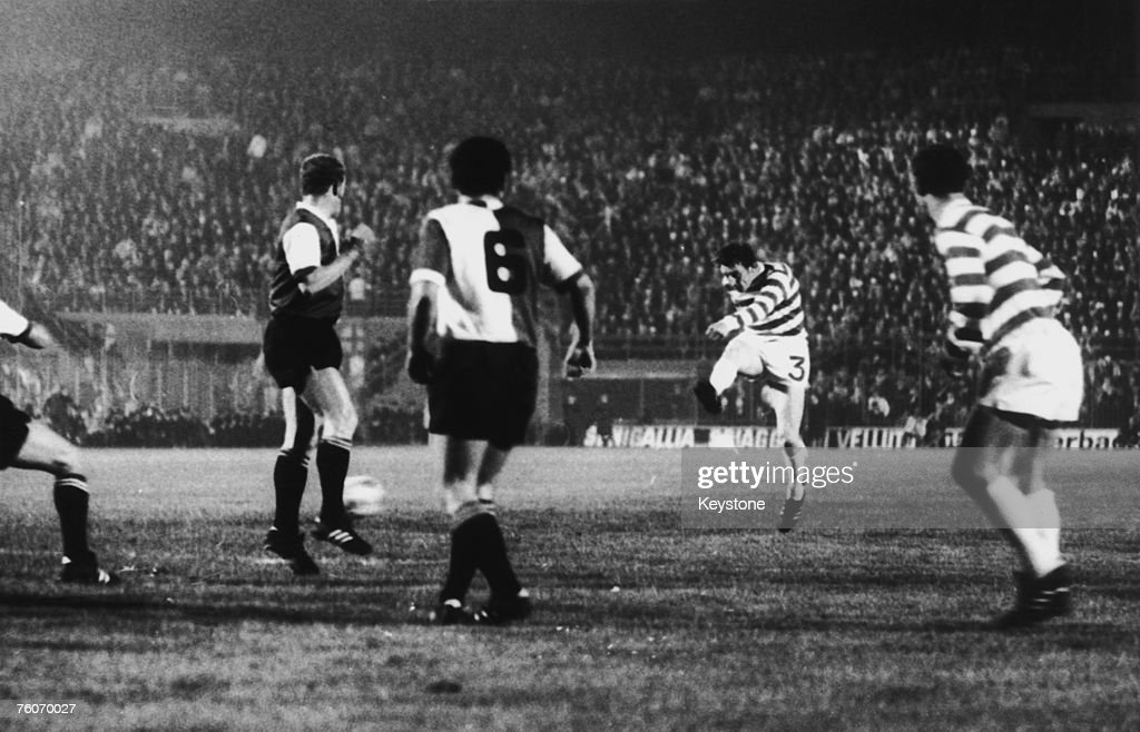 Tommy Gemmell (second from right) scores Celtic's goal against Feyenoord Rotterdam in the European Cup Final at the Stadio San Siro, Milan, 6th May 1970. Feyenoord won the match 2-1.