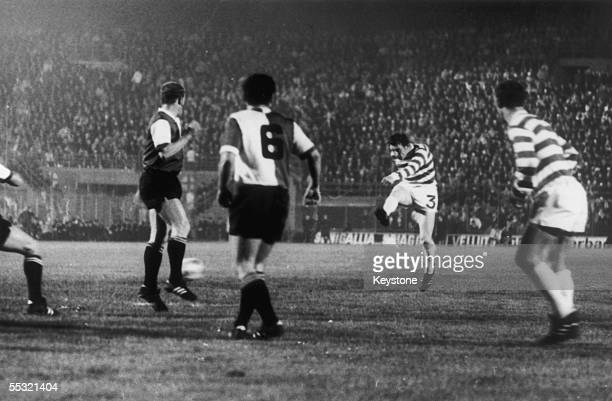 Tommy Gemmell scores Celtic's goal during the European Cup final against Feyenoord in Milan, 7th May 1970. The Dutch team went on to beat Celtic 2-1...