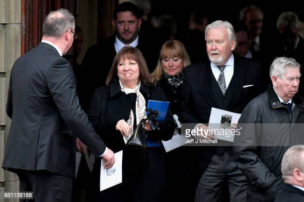 Tommy Gemmell's wife Mary Gemmell leaves following the funeral service for the former Glasgow Celtic and Lisbon Lion footballer at Daldowie...