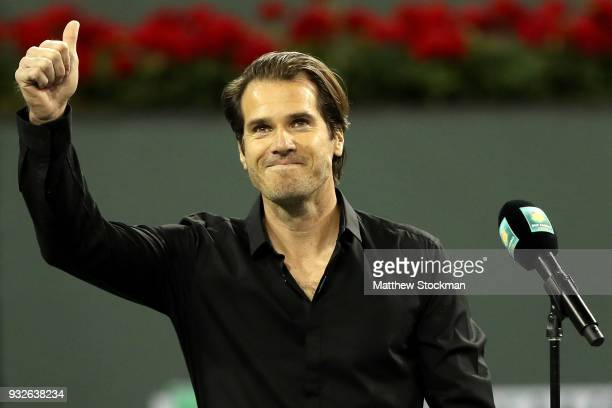 Tommy Haas announces his retirement at a ceremony after the Roger Federer quarterfnal match against Hyeon Chung during of the BNP Paribas Open at the...