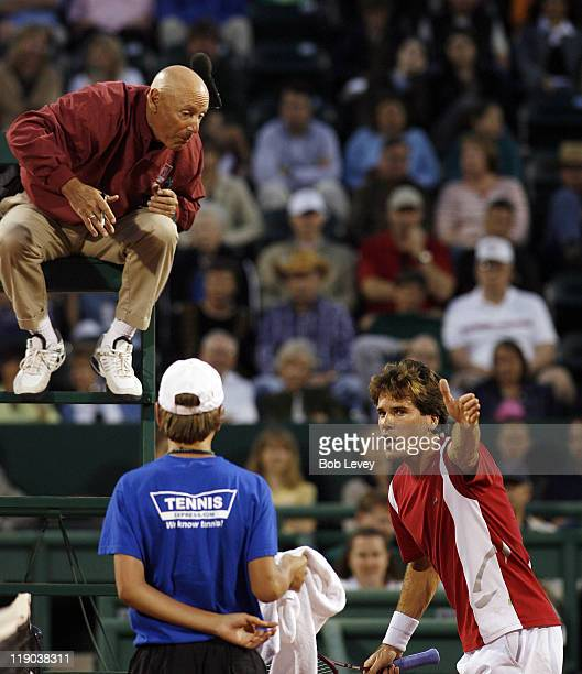 Tommy Haas argues with the chair umpire over a call. Haas defeated Oscar Hernandez 6-1, 6-4, April 10, 2006 at Westside Tennis Center in Houston,...