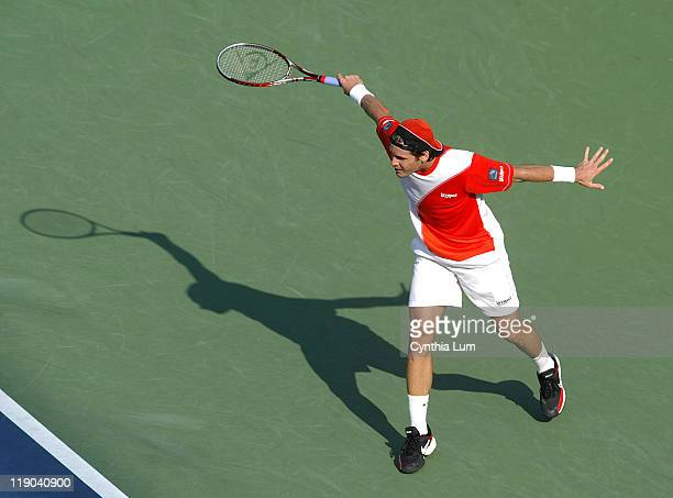 Tommy Haas during his quarterfinals match against Nikolay Davydenko at the 2006 US Open at the USTA Billie Jean King National Tennis Center in...