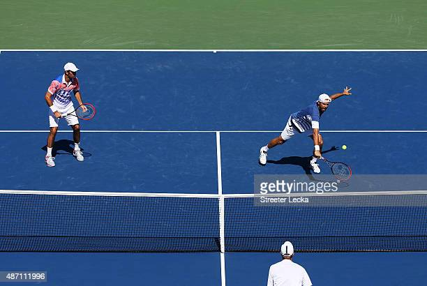 Tommy Haas of Germany and Radek Stepanek of the Czech Republic play against Dominic Inglot of Great Britain and Robert Lindstedt of Sweden during...