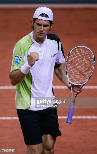 Tommy Haas of Germany celebrates his victory over Kristof Vliegen of Belgium after the first day of the Tennis Davis Cup Quarter Final match at the...