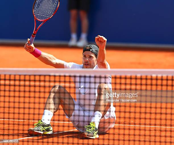 Tommy Haas of Germany celebrates victory after winning his final match against Philipp Kohlschreiber of the BMW Open at Iphitos tennis club on May 5...