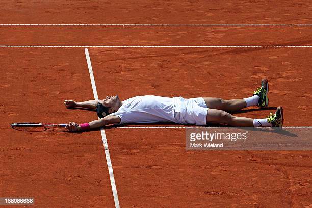 Tommy Haas of Germany celebrates winning against Philipp Kohlschreiber of Germany during the Final of the BMW Open at Iphitos tennis club on May 5,...