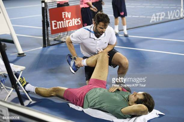Tommy Haas of Germany getting treatment during his lose to Nikoloz Basilashvili of Georgia at the Delray Beach Open on February 21 2017 in Delray...