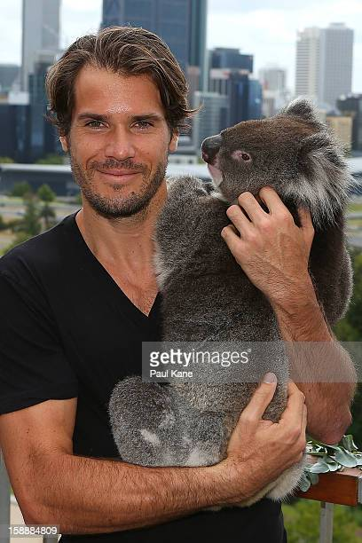 Tommy Haas of Germany holds a Koala on a visit to Kings Park during day six of the Hopman Cup at Perth Arena on January 3, 2013 in Perth, Australia.