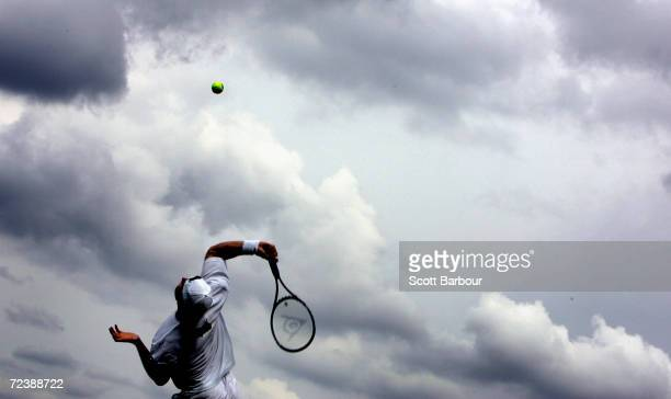 Tommy Haas of Germany in action during his first round match against Antony Dupuis of France at the Wimbledon Lawn Tennis Championship on June 22...