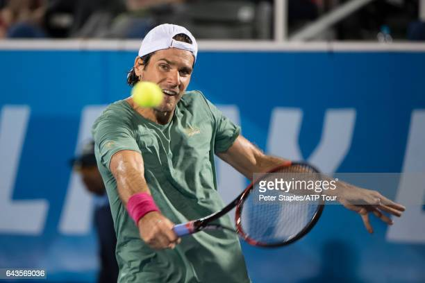 Tommy Haas of Germany in action during his lose to Nikoloz Basilashvili of Georgia at the Delray Beach Open on February 21 2017 in Delray Beach USA