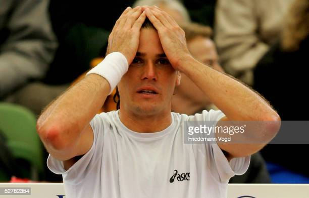 Tommy Haas of Germany looks dejected during his match against Dominik Hrbaty of Slovakia during the Masters Series Hamburg at Rothenbaum on May 10...