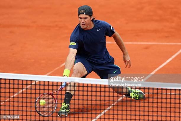 Tommy Haas of Germany plays a fore hand during his 2nd round match against Ernests Gulbis of Latvia of the BMW Open at Iphitos tennis club on May 2,...
