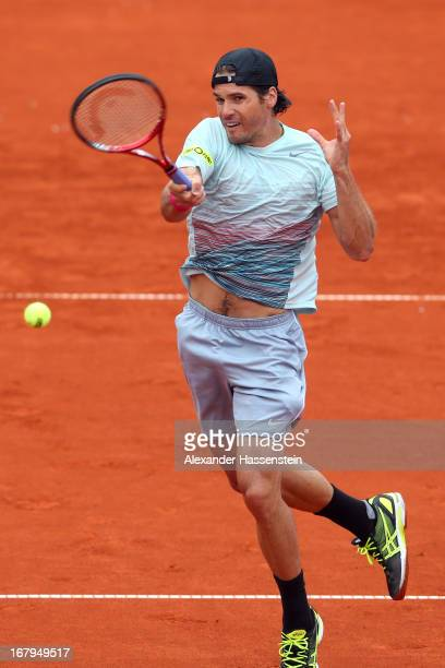 Tommy Haas of Germany plays a fore hand during his quarter final match against Florian Mayer of Germany of the BMW Open at Iphitos tennis club on May...