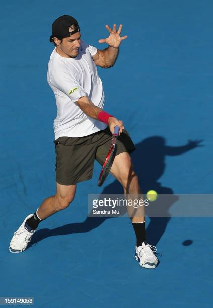Tommy Haas of Germany plays a forehand in his second round match against Igor Sijsling of Netherlands during day three of the Heineken Open at ASB...