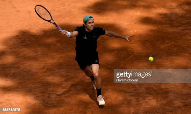 Tommy Haas of Germany plays shot during his first round match against Ernesto Escobedo of USA in The Internazionali BNL d'Italia 2017 at Foro Italico...