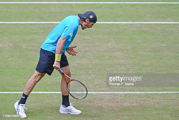 Tommy Haas of Germany reacts annoyed in his half final match against Roger Federer of Switzerland during day six of the Gerry Weber Open at Gerry...