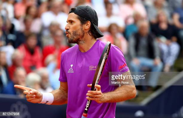 Tommy Haas of Germany reacts during the Manhagen Classics against Michael Stich of Germany at Rothenbaum on July 23 2017 in Hamburg Germany