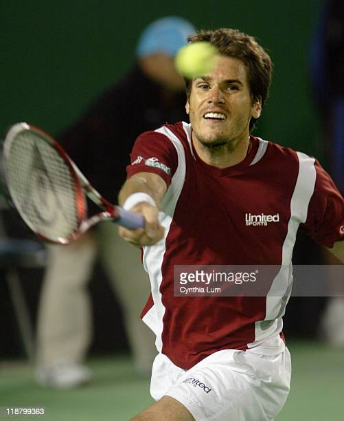 Tommy Haas reaches for a volley. Roger Federer defeats Tommy Haas 6-4, 6-0, 3-6, 4-6, 6-2 in the Fourth Round at the Australian Open, Melbourne,...