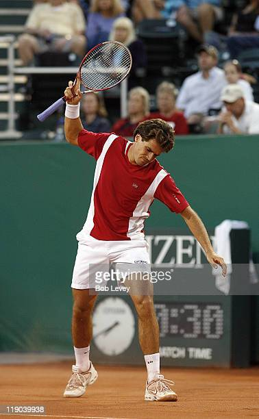 Tommy Haas shows his disgust after missing a shot.Tommy Haas defeated Oscar Hernandez 6-1, 6-4, April 10, 2006 at Westside Tennis Center in Houston,...