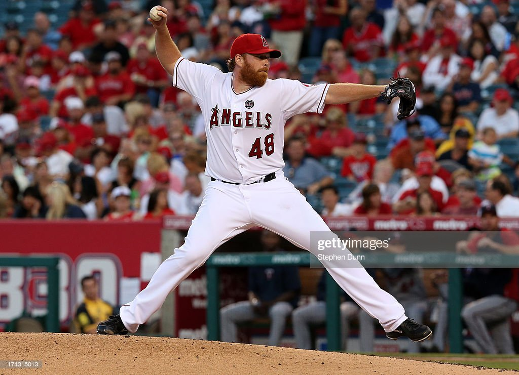 Tommy Hanson #48 of the Los Angeles Angels of Anaheim throws a pitch against the Minnesota Twins at Angel Stadium of Anaheim on July 23, 2013 in Anaheim, California.