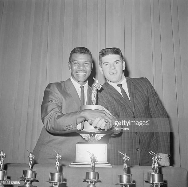 Tommy Harper, outfield, and Pete Rose, second base, Cincinnati Red's rookie All-Stars at Waldorf rookie ceremonies.