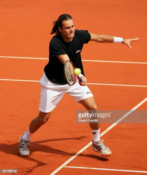 Tommy Hass of Germany in action during his semi final match against Andrei Pavel of Romania during the semi finals of The BMW Open Tennis at The...