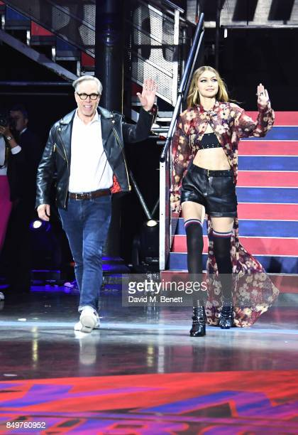 Tommy Hilfiger and Gigi Hadid walk the runway at the Tommy Hilfiger TOMMYNOW Fall 2017 Show during London Fashion Week September 2017 at The...