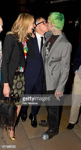 Tommy Hilfiger and his son Ricky Hilfiger are seen leaving Lulu's restaurant Mayfair on June 16 2015 in London England