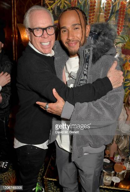 Tommy Hilfiger and Lewis Hamilton attend the TOMMYNOW after party at Annabels on February 16 2020 in London England