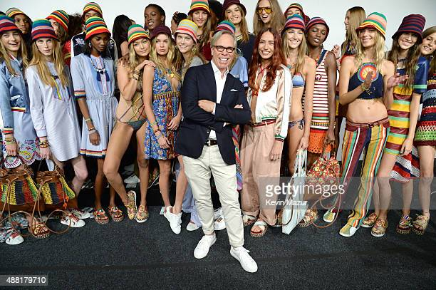 Tommy Hilfiger and models pose backstage at Tommy Hilfiger Women's Spring 2016 during New York Fashion Week The Shows at Pier 36 on September 14 2015...