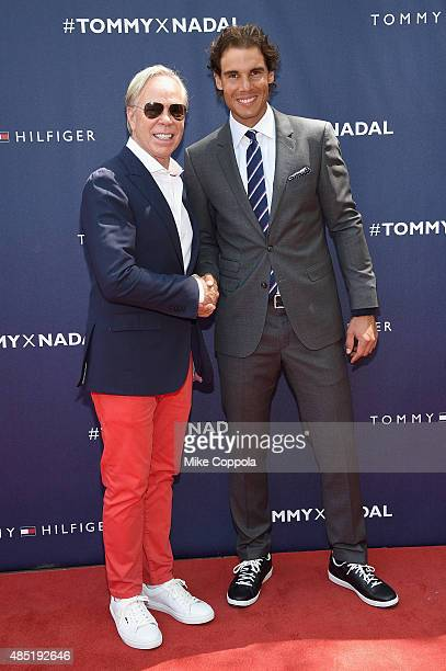 Tommy Hilfiger and Rafael Nadal attend the Tommy Hilfiger and Rafael Nadal Global Brand Ambassadorship Launch at Bryant Park on August 25 2015 in New...