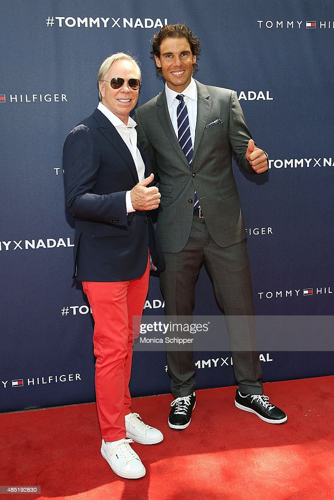 Tommy Hilfiger (L) and Rafael Nadal attend the Tommy Hilfiger And Rafael Nadal Global Brand Ambassadroship Launch Event at Bryant Park on August 25, 2015 in New York City.