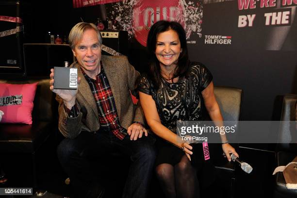Tommy Hilfiger and Veronique GabaiPinsky Global Brand President of Aramis attend the Hilfiger Denim Loud press conference at Delight Studios on...