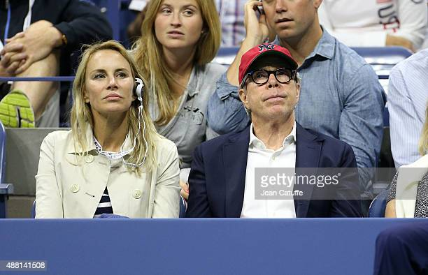 Tommy Hilfiger and wife Dee Ocleppo attend the Men's Final on day fourteen of the 2015 US Open at USTA Billie Jean King National Tennis Center on...