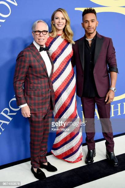 Tommy Hilfiger, Dee Ocleppo, and Lewis Hamilton attend the 2018 CFDA Fashion Awards at Brooklyn Museum on June 4, 2018 in New York City.