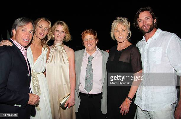 Tommy Hilfiger Dee Ocleppo Cynthia Nixon Christine Marinoni DeborraLee Furniss and Hugh Jackman attend the Tommy Hilfiger 10th anniversary party at...