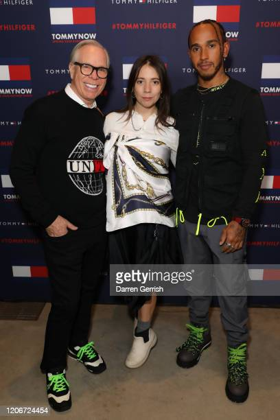 Tommy Hilfiger Elizabeth Hilfiger and Lewis Hamilton backstage at TOMMYNOW London Spring 2020 at Tate Modern on February 16 2020 in London England