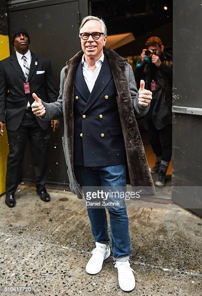 Tommy Hilfiger is seen outside the Tommy Hilfiger show during New York Fashion Week: Women's Fall/Winter 2016 on February 15, 2016 in New York City.
