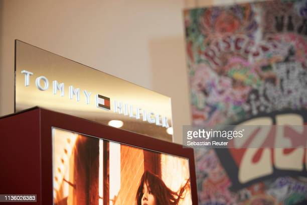 Tommy Hilfiger sign is seen during the 'TommyxZendaya' meet greet event at KaDeWe on March 15 2019 in Berlin Germany